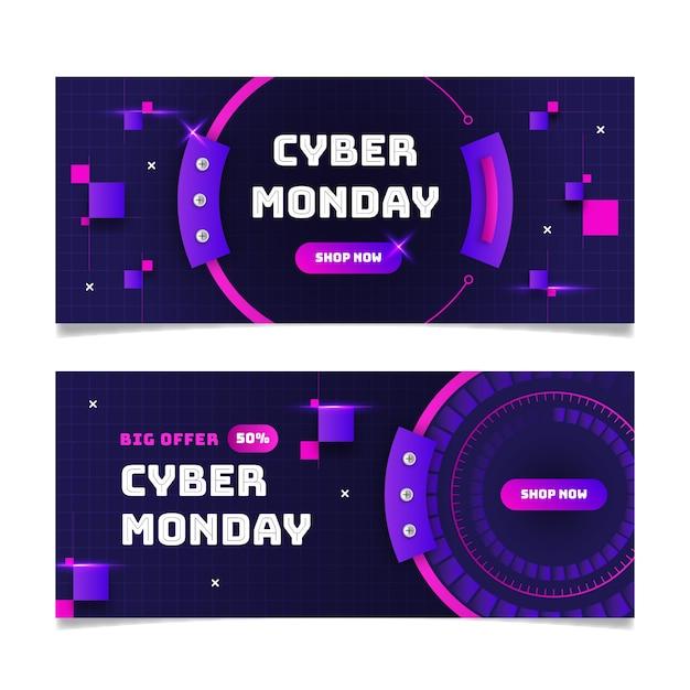 Cyber montag banner im flachen design Kostenlosen Vektoren