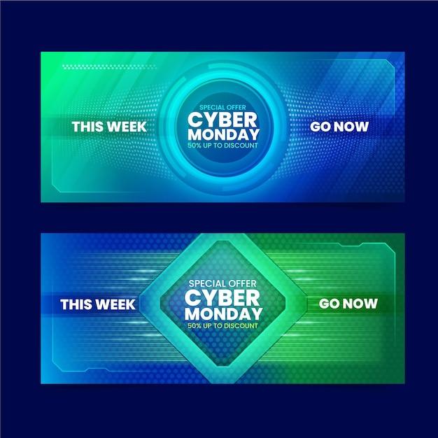 Cyber montag banner in flachem design Premium Vektoren