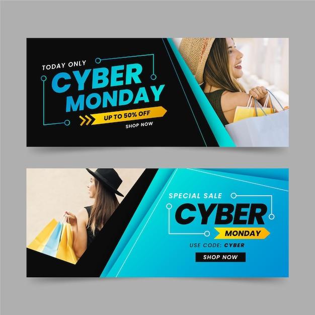 Cyber montag banner mit foto in flachem design Kostenlosen Vektoren