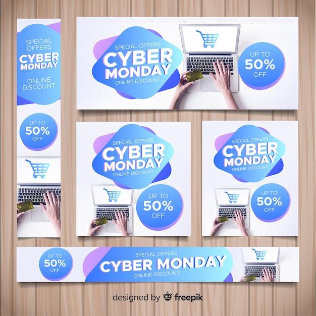 Cyber montag banner schablonen sammlung Kostenlosen Vektoren
