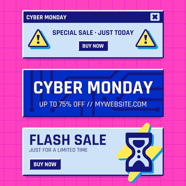 Cyber-montag-banner Premium Vektoren