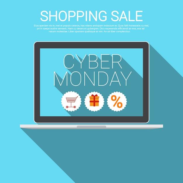 Cyber-montag-großer einkaufsverkaufs-fahne Premium Vektoren