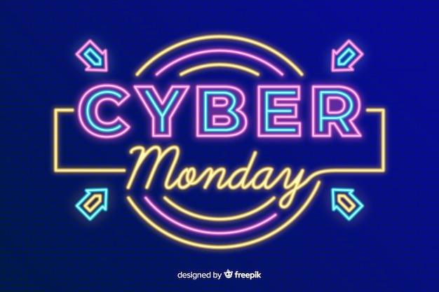 Cyber-montag-konzept mit neonhintergrund Kostenlosen Vektoren