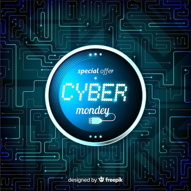 Cyber-montag-konzept mit realistischem hintergrund Kostenlosen Vektoren