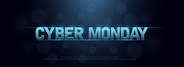 Cyber montag verkauf logo technologie design-konzept Premium Vektoren
