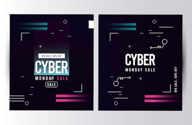 Cyber montag verkauf poster mit rosa und blauen linien illustration design Premium Vektoren
