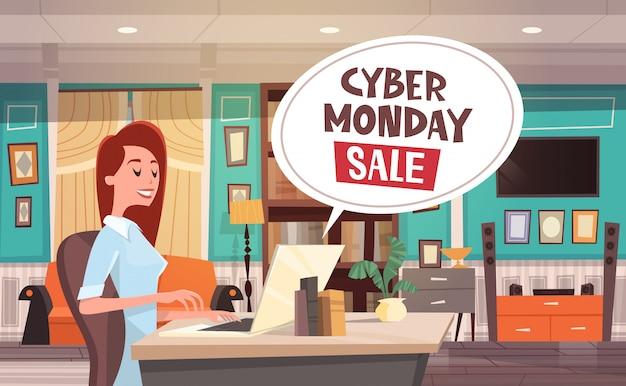 Cyber-montag-verkaufs-chat-blase über frau, die laptop-computer verwendet feiertags-rabatte fahnen-design Premium Vektoren