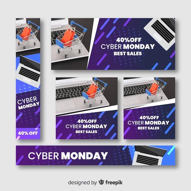 Cyber-montag-verkaufsfahne stellte mit computer und warenkorb ein Kostenlosen Vektoren