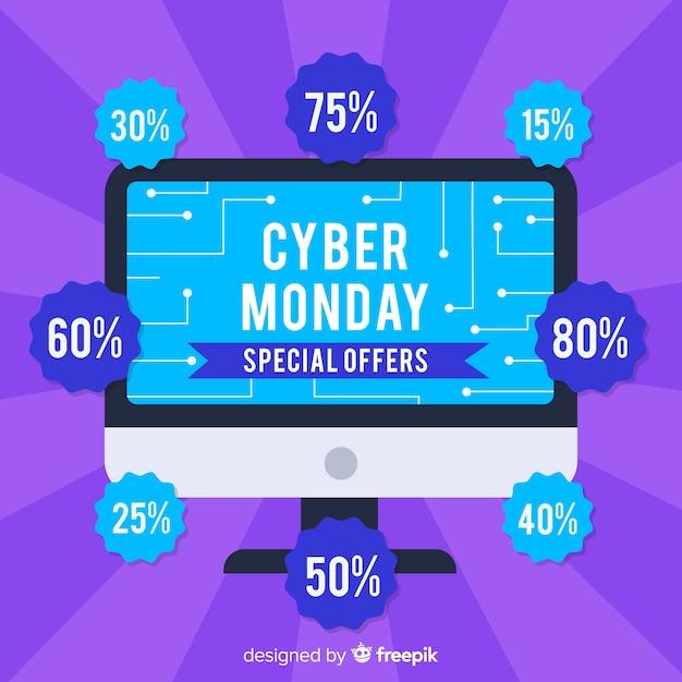 Cyber-montag-verkaufshintergrund mit computer Kostenlosen Vektoren