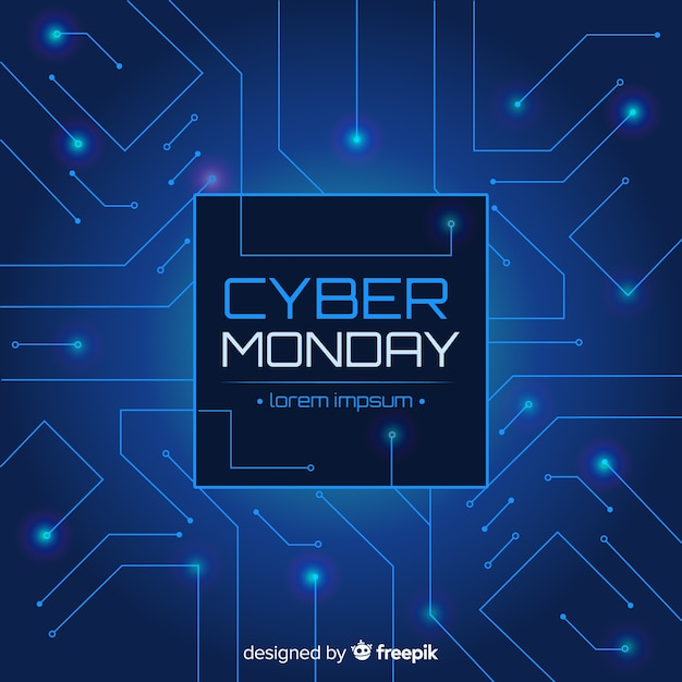 Cyber-montag-verkaufshintergrund-neonart Kostenlosen Vektoren