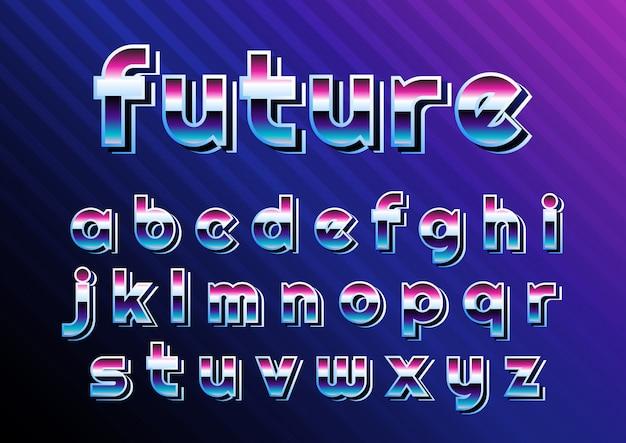 Cyber retro digital alphabet set Premium Vektoren