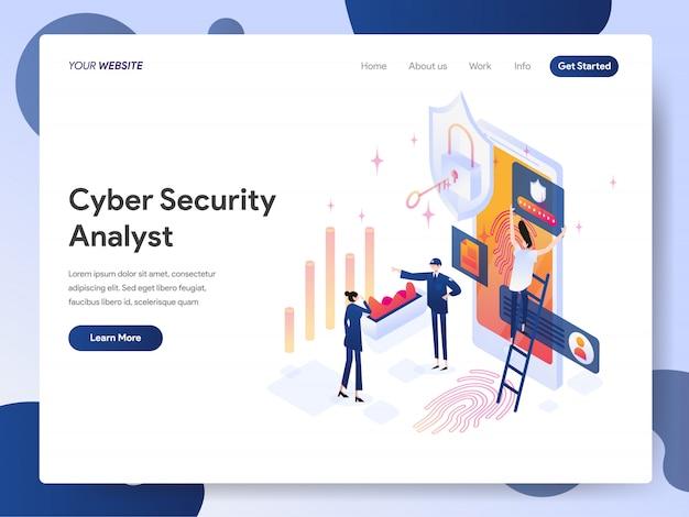 Cyber security analyst banner der zielseite Premium Vektoren