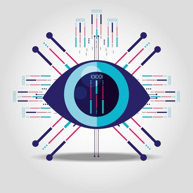 Cyber security auge isoliert symbol Premium Vektoren