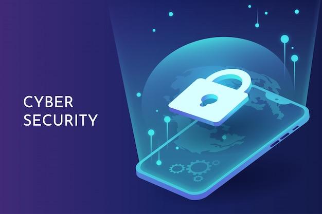 Cyber-sicherheit auf dem smartphone Premium Vektoren