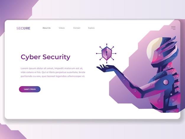 Cyber-sicherheits-netz-flache illustration Premium Vektoren