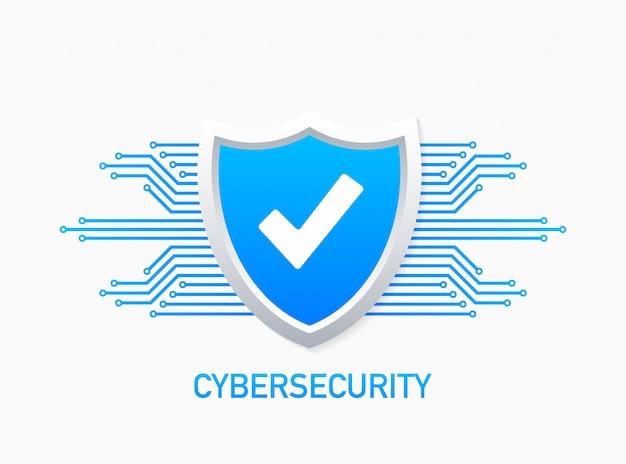 Cyber-sicherheitslogo mit schild und häkchen. sicherheitsschild konzept. internet sicherheit. Premium Vektoren