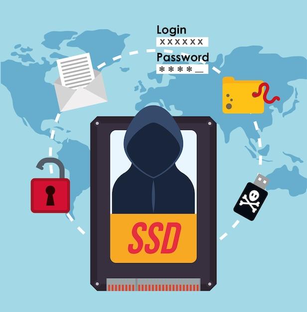 Cyber-sicherheitssystem und mediendesign Premium Vektoren