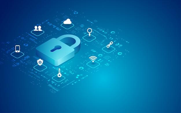 Cyber-vorhängeschloss Premium Vektoren