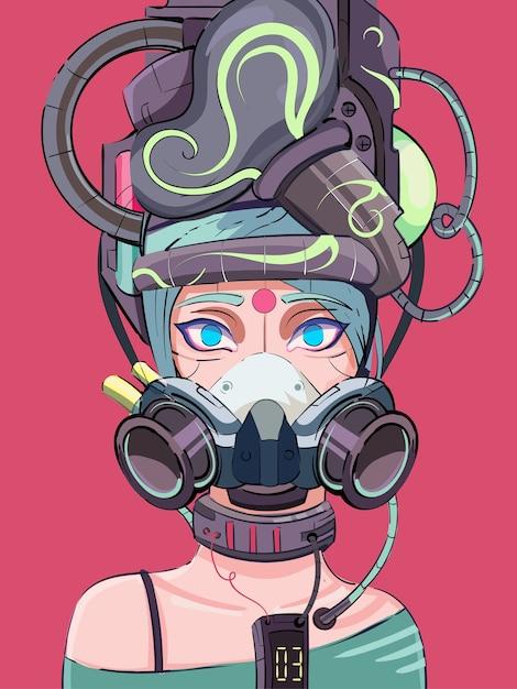 Cyberpunk-cyborg-mädchen im science-fiction-stil in einer tech-maske Premium Vektoren