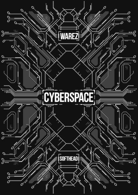 Cyberpunk futuristische banner. Premium Vektoren