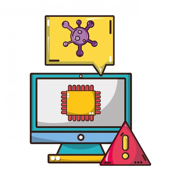 Cybersecurity-bedrohungskarikatur Premium Vektoren