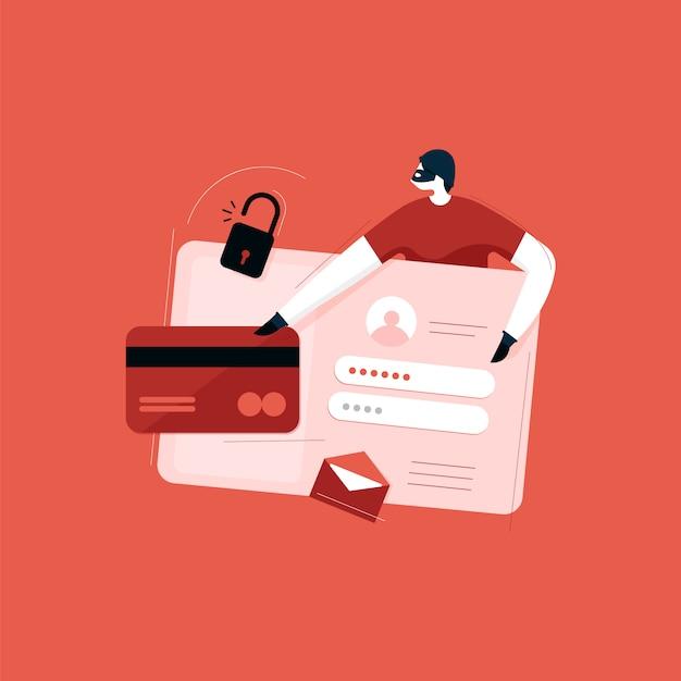 Cybersicherheit, antiviren-, hacker- und malware-konzepte, die personenbezogene daten stehlen Premium Vektoren