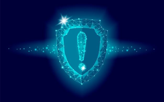 Cybersicherheit sicherheitsschild niedriges polyausrufezeichen, polygonaler geometrischer schutz Premium Vektoren