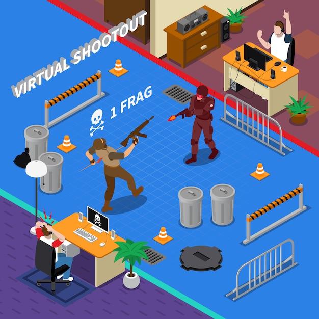 Cybersport-isometrische illustration Kostenlosen Vektoren