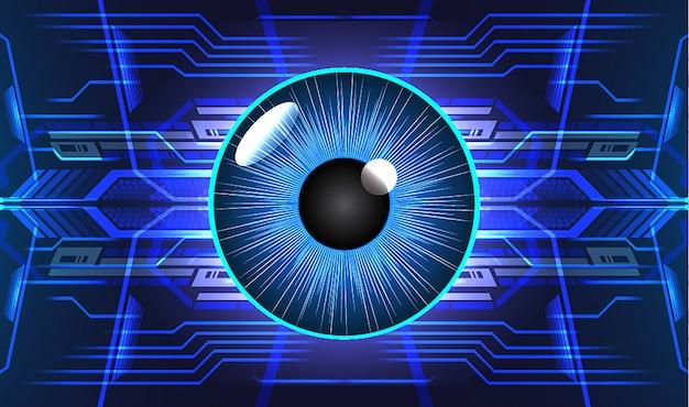 Cyberstromkreis des blauen auges zukünftiger technologiekonzepthintergrund Premium Vektoren