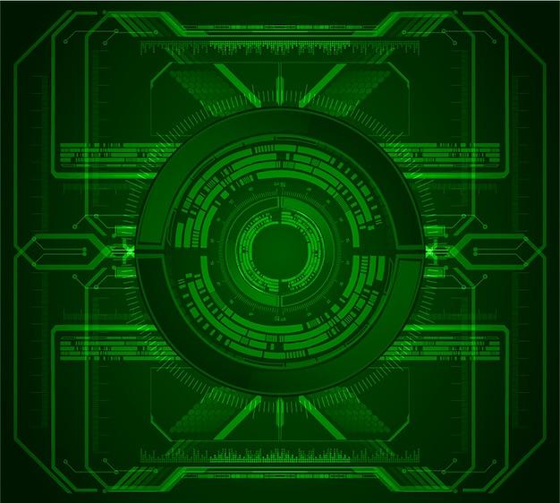 Cyberstromkreis des grünen auges zukünftiger technologiekonzepthintergrund Premium Vektoren