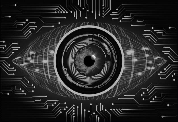 Cyberstromkreis-zukunftstechnologiehintergrund des blauen auges Premium Vektoren