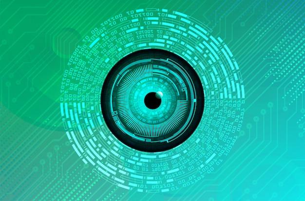Cyberstromkreis-zukunftstechnologiekonzept des blauen grünen auges Premium Vektoren