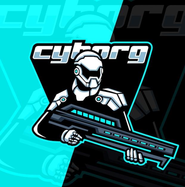 Cyborg armee maskottchen esport Premium Vektoren