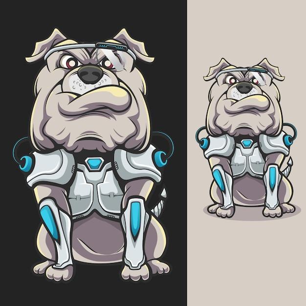 Cyborg-bulldogge Premium Vektoren