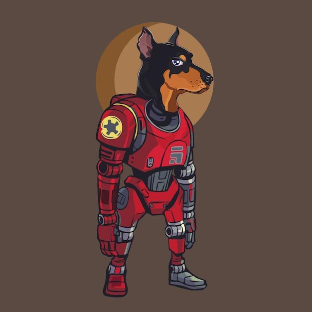 Cyborg hund Premium Vektoren