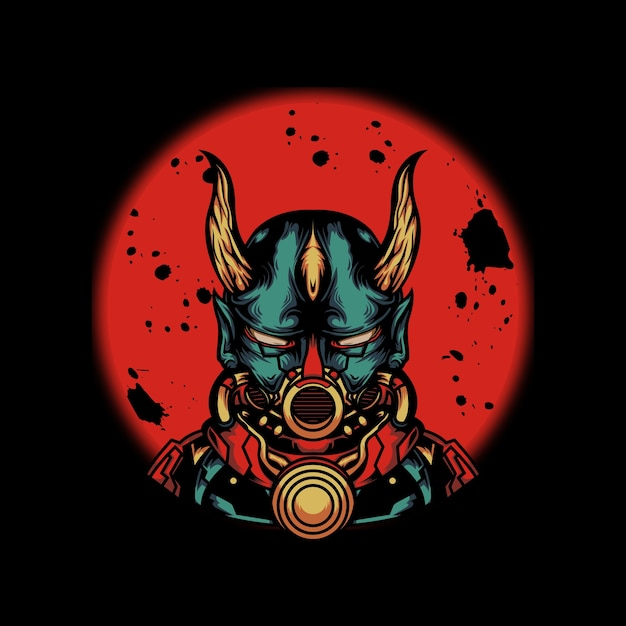 Cyborg trägt maskenillustration Premium Vektoren