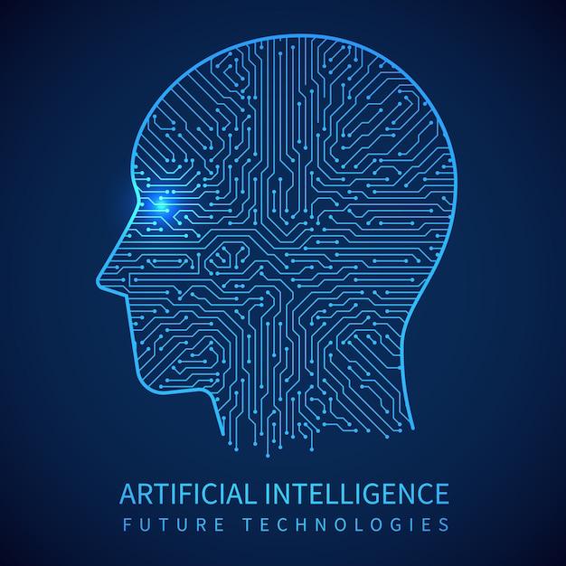 Cyborgkopf mit leiterplatte nach innen. künstliche intelligenz des digitalen menschlichen vektorkonzeptes Premium Vektoren