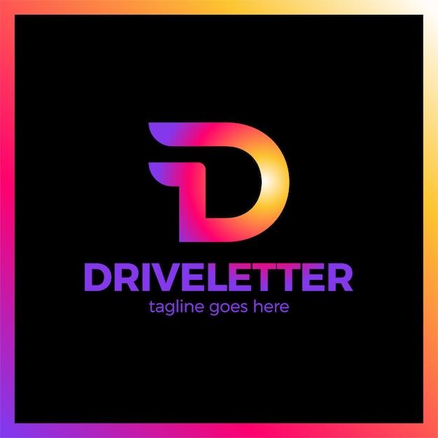 D buchstabe logo mit einem zwei flügel Premium Vektoren