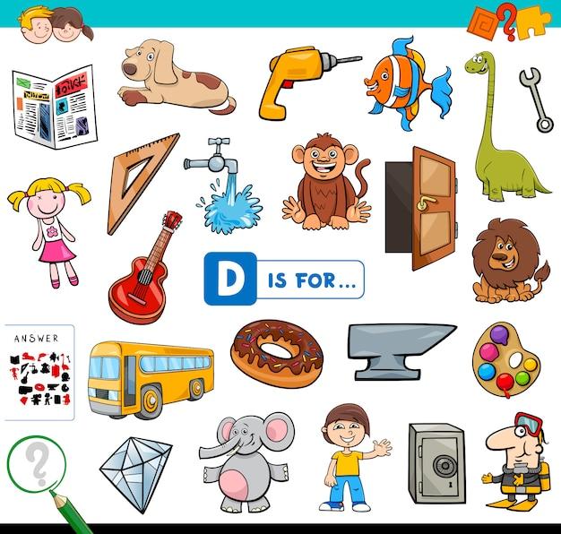 D ist für pädagogische aufgabe für kinder Premium Vektoren