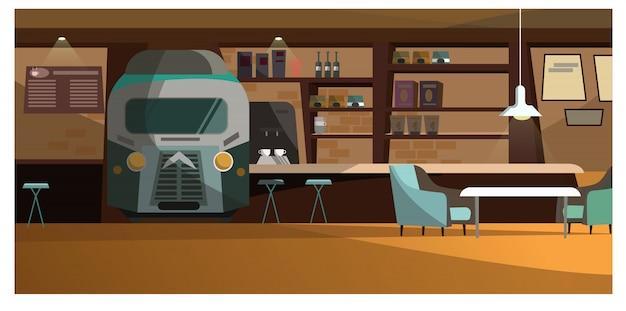 Dachbodencafé mit einzigartiger designillustration Kostenlosen Vektoren