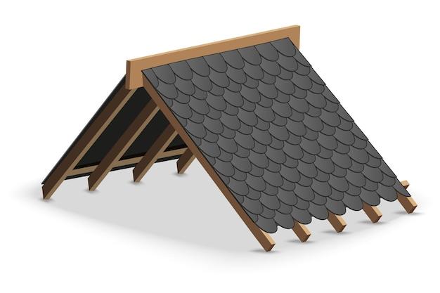 Dachdecker der schwarzen schindeln auf dach. Premium Vektoren