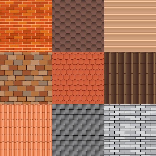 Dachziegel und dachbeschaffenheit eingestellt. Premium Vektoren