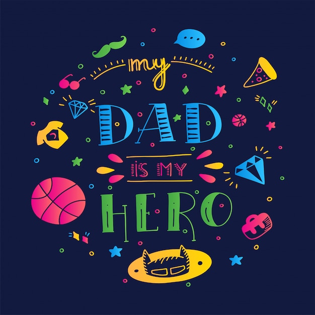 Dad superheld doodle zitat im handschriftlichen stil. liebe daddy schriftzug satz. Premium Vektoren