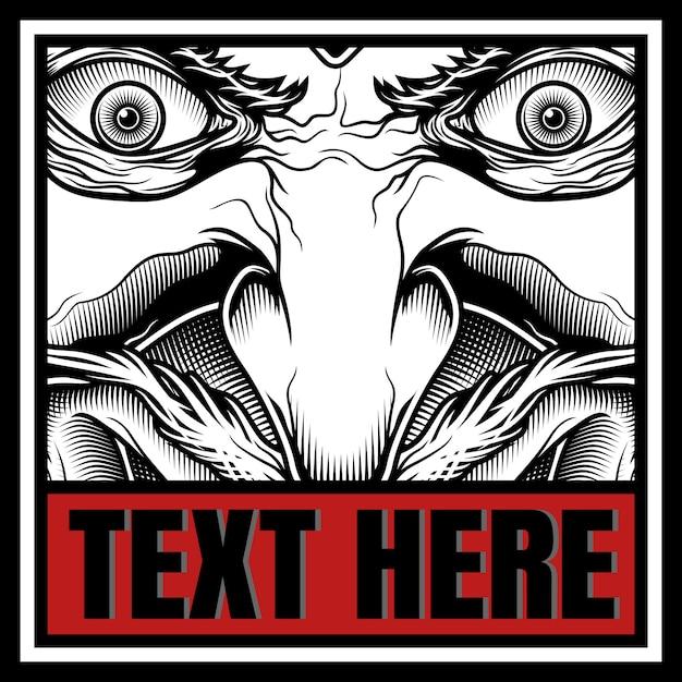 Dämon mit texthandzeichnung Premium Vektoren