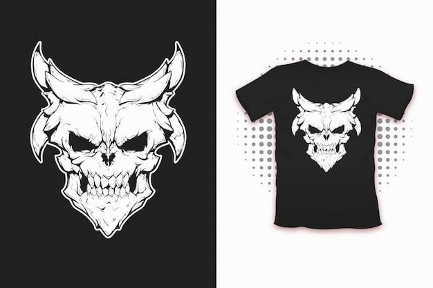 Daemon print für t-shirt Premium Vektoren
