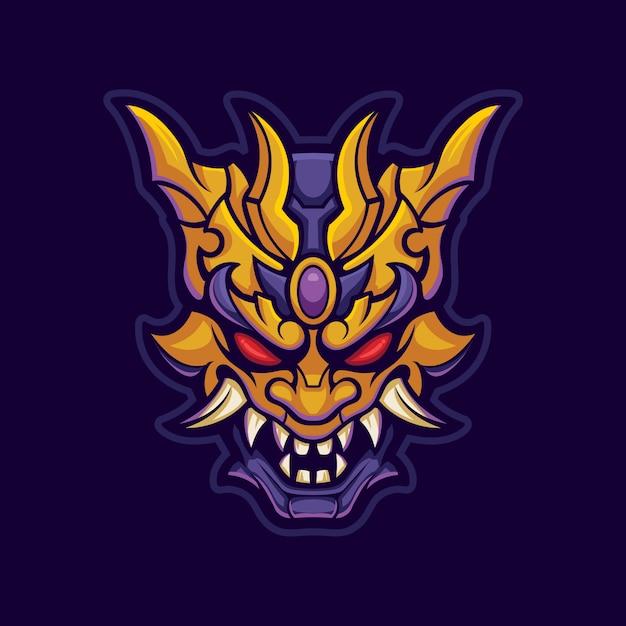 Dämonenmaske in gold und lila. oni gesicht in metallmaterial. esport logo gaming Premium Vektoren