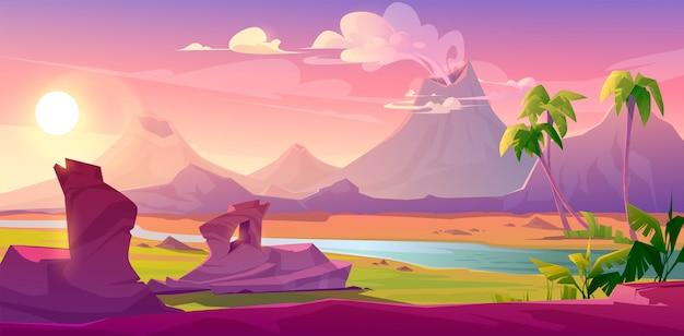 Dämpfende vulkane, karikaturvulkanhintergrund Kostenlosen Vektoren