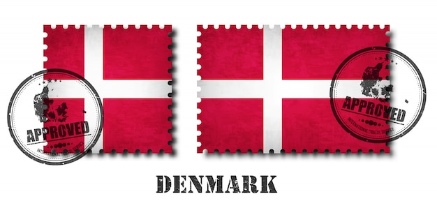 Dänemark oder dänische flagge muster briefmarke Premium Vektoren