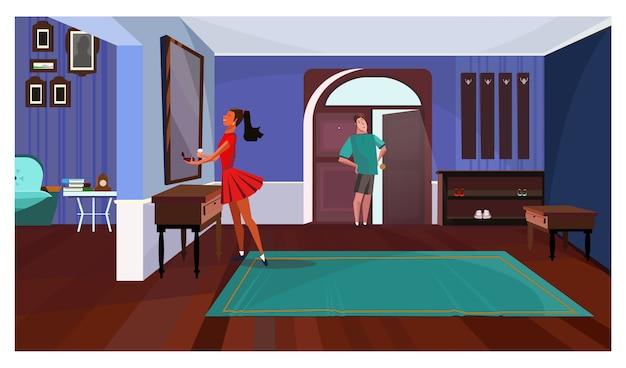Dame Die Vor Spiegel In Der Korridorillustration Steht Download