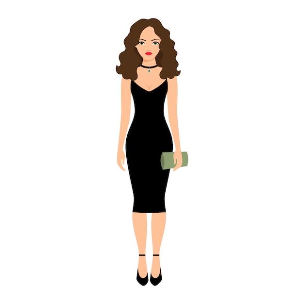 Dame im schwarzen nachtkleid Premium Vektoren